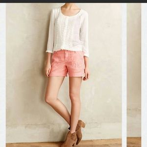 ANTHROPOLOGIE 29 pink linen chino shorts